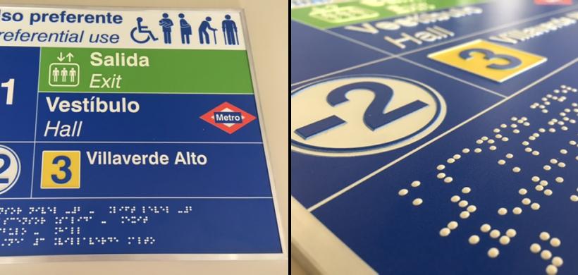 Mejora de elementos de señalización con braille y alto relieve en el Metro de Madrid