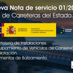 ACTUALIZACIÓN DE LA NOTA DE SERVICIO 01/2021 A CUMPLIR EN LA RED DE CARRETERAS DEL ESTADO DESDE EL MITMA